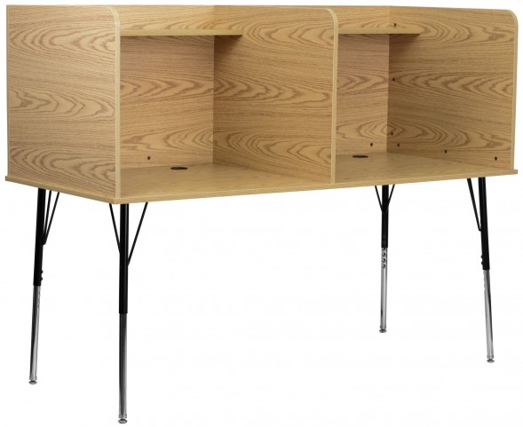 Oak Double Wide Study Carrel with Adjustable Legs and Top Shelf