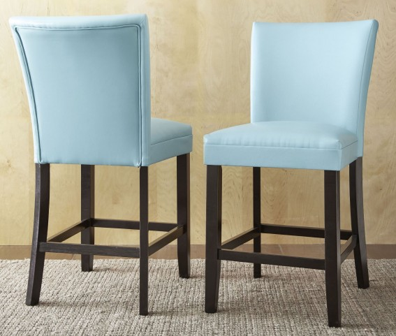 Matinee Aqua Bonded Leather Counter Chair Set of 2