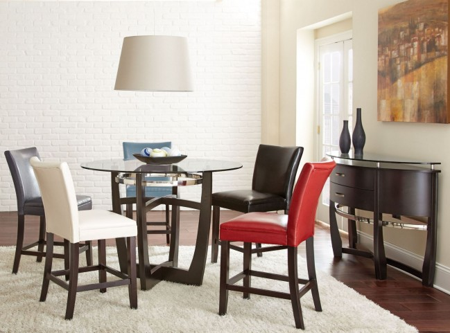Matinee Glass Top Round Counter Height Dining Room Set