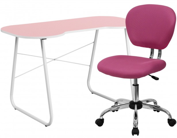 Pink Computer Desk and Chair