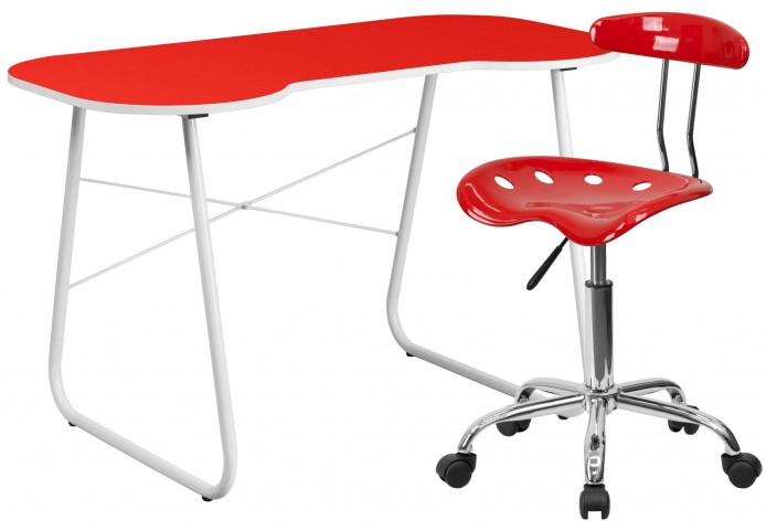 Red Computer Desk and Tractor chair