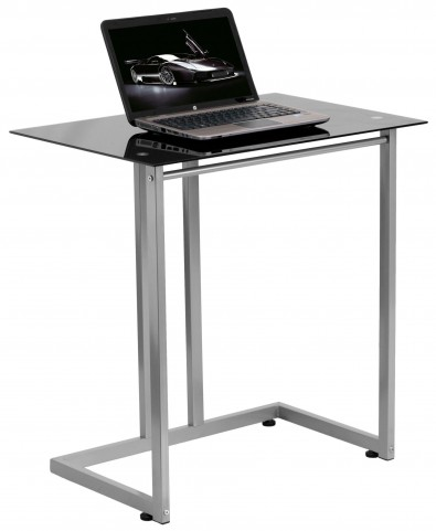 Black Tempered Glass Top Computer Desk