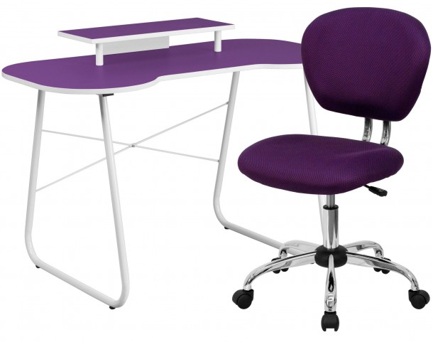 Purple Computer Desk with Monitor Stand and Chair