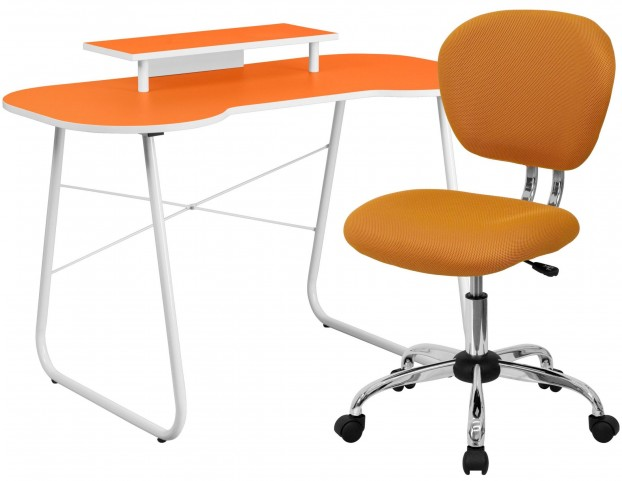 Orange Computer Desk with Monitor Stand and Chair