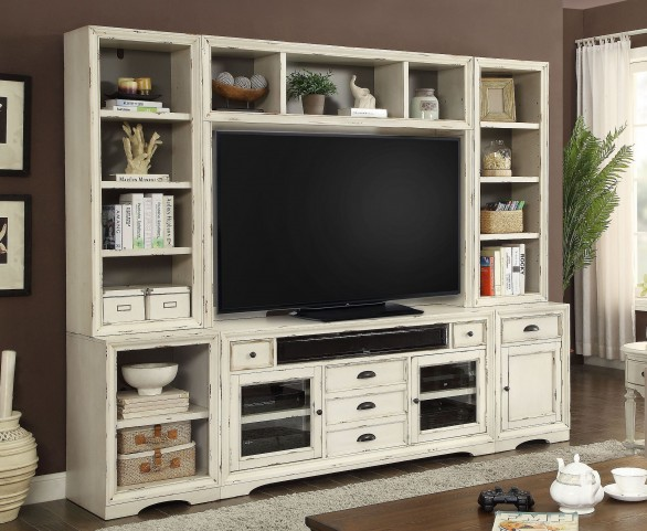 Nantucket Vintage Burnished Artisanal White Entertainment Wall