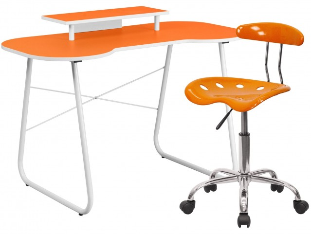 Orange Computer Desk Monitor Stand and Tractor Chair