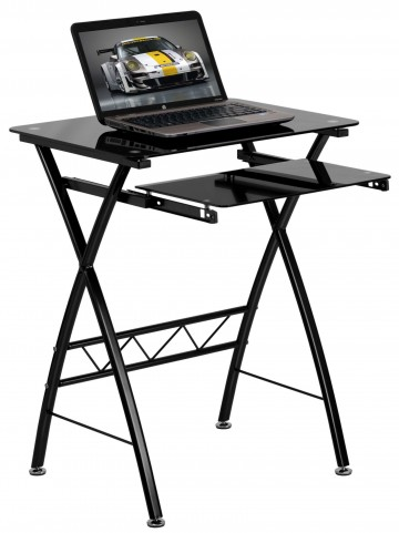 Black Tempered Glass Top Pull-Out Keyboard Computer Desk