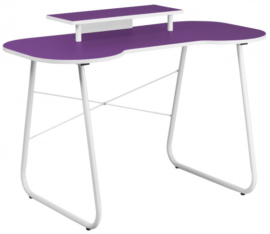 Purple Metal Computer Desk with Monitor Stand and White Frame