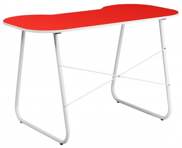 Red Metal Computer Desk with White Frame