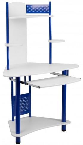 Hutch Blue Corner Computer Desk
