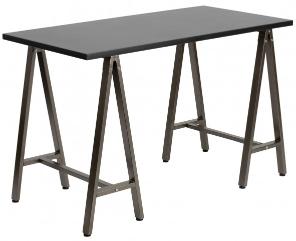Black With brown Frame Computer Desk