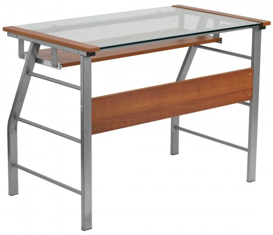 Cherry Laminate Computer Desk with Pull-Out Keyboard