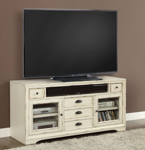"Nantucket Vintage Burnished Artisanal White 63"" TV Console"