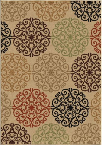 Orian Rugs Indoor/Outdoor Medallion Catalina Beige Area Medium Rug
