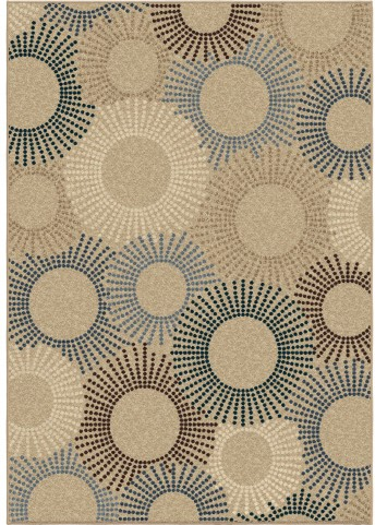 Orian Rugs Indoor/Outdoor Circles Ray of Light Beige Area Large Rug
