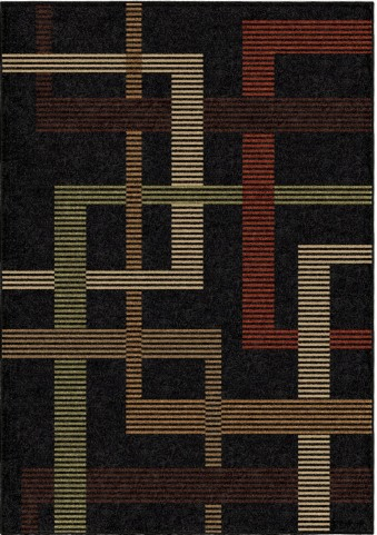 Orian Rugs Indoor/Outdoor Lines Trenton Black Area Small Rug