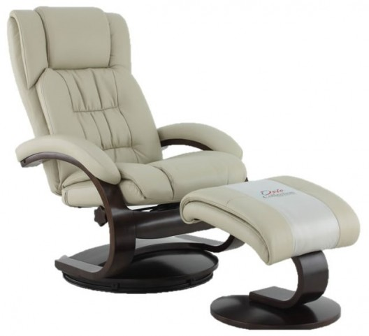 Oslo Beige Breathable Air Leather Recliner with Ottoman