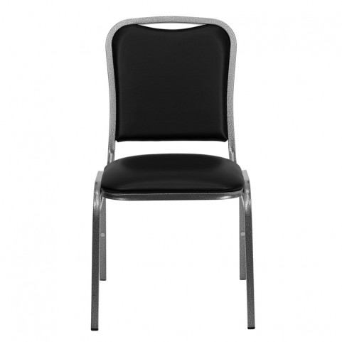 Hercules Stacking Banquet Chair with Black Vinyl & Silver Vein Frame