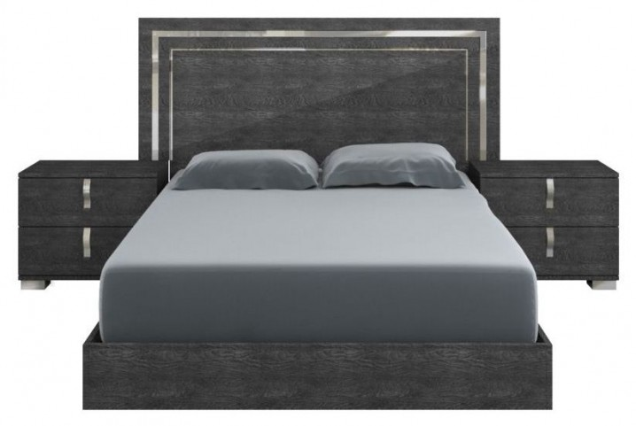 Vivente Noble Gray Birch High Gloss Queen Platform Bed
