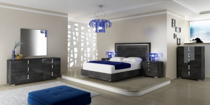Vivente Noble Grey Birch High Gloss Platform Bedroom Set