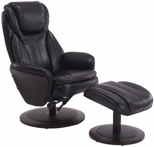 Norway Black Breathable Swivel Recliner with Ottoman