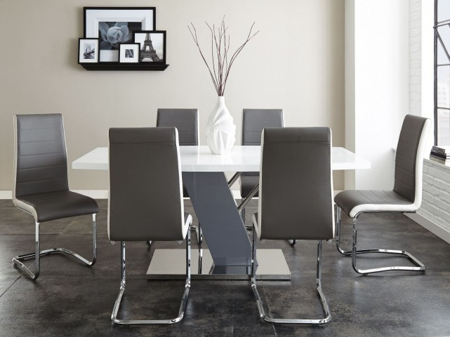 Nevada Shiny Chrome Rectangular Pedestal Dining Room Set