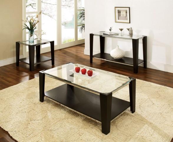 Newman Dark Espresso Glass Top Rectangular Occasional Table Set