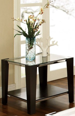 Newman Dark Espresso Glass Top Rectangular End Table