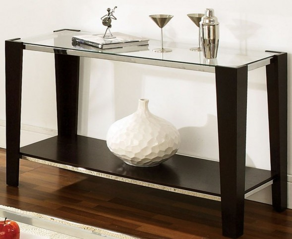Newman Dark Espresso Glass Top Rectangular Sofa Table