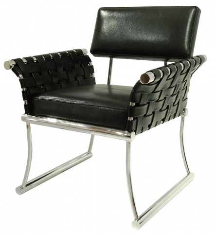 Nyla Black Leather Accent Chair