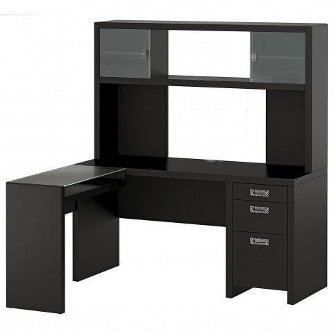 New York Skyline Modern Mocha Small Office L Desk & Hutch