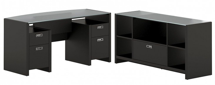 New York Skyline Modern Mocha Bow Front Desk & Storage Crendenza