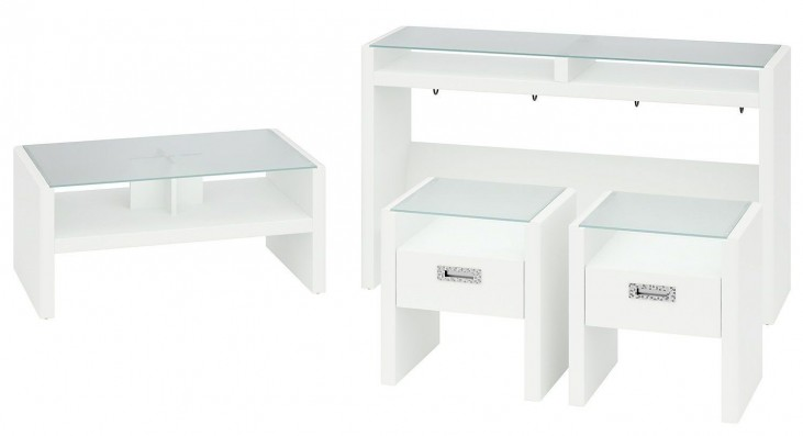 New York Skyline Plumeria White NYS 4-in-1 Occasional Table Set