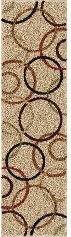 Orian Rugs Shag Circles Circle Design Beige Runner Rug
