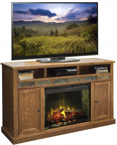 "Oak Creek Golden Oak 63"" Fireplace Console"