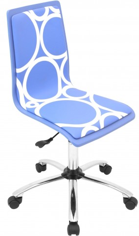 Printed Office Blue Circles Chair