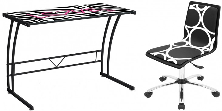 Zebra Love Graphic Top Sigma Home Office Set