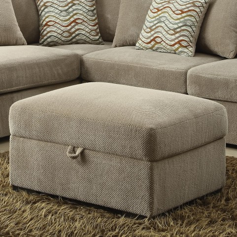 Olson Taupe Rectangular Storage Ottoman