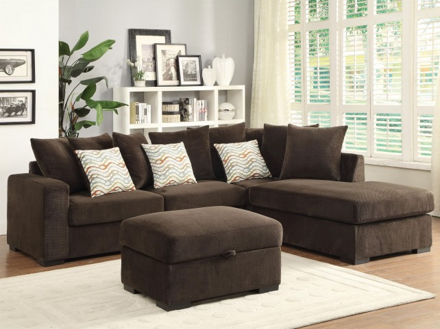 Olson Chocolate Reversible Sectional