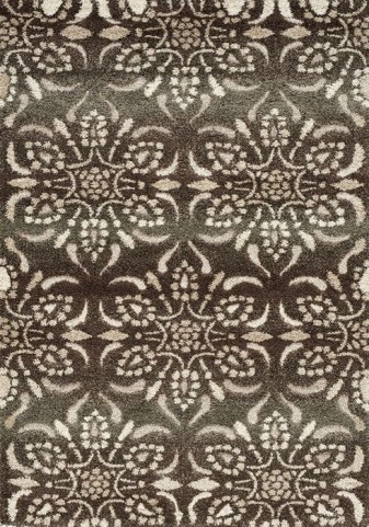 Olympia Brown and Cream Floral Bead Small Rug