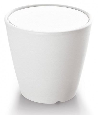 Omnia Multipurpose White Glass Top Pot/Vase/Seat/Table