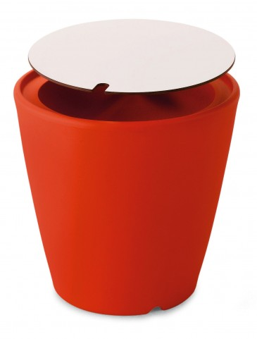 Omnia Multipurpose Red High Pressure Laminate Top Pot/Vase/Seat/Table