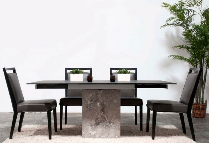 Ritz Onyx Rectangular Extendable Pedestal Dining Room Set with Basix Enzo Dining Chairs