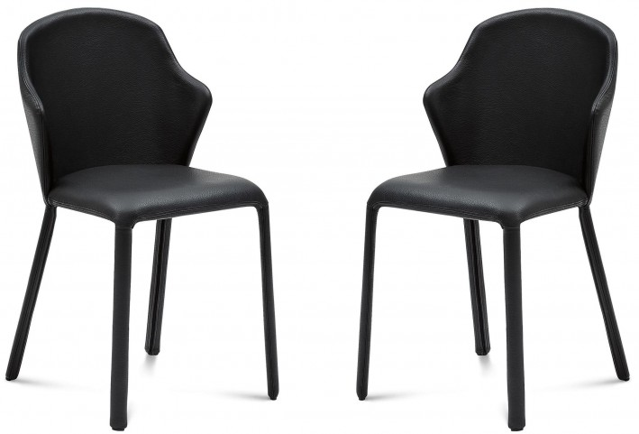 Opera Black Grain Leather Steel Chair Set of 2