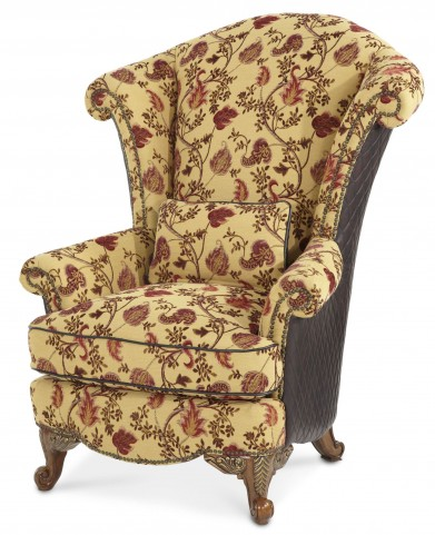 Oppulente Sienna Spice Leather/Fabric Wing Chair