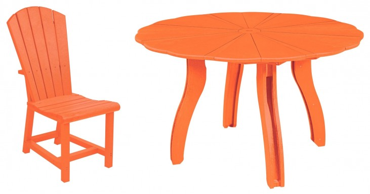 "Generations Orange 52"" Scalloped Round Dining Room Set"