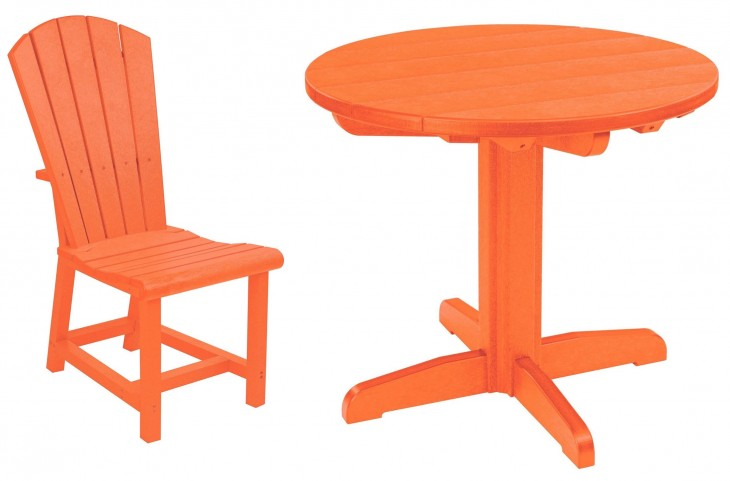 "Generations Orange 32"" Round Pedestal Dining Room Set"