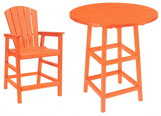"Generations Orange 32"" Round Leg Pub Set"
