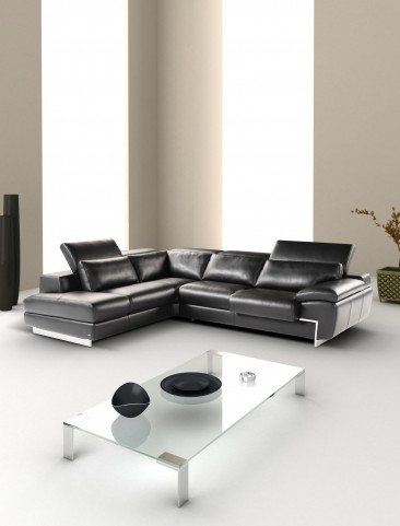 Oregon II Black Italian Leather LAF Chaise Sectional