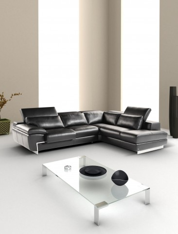 Oregon II Black Italian Leather RAF Chaise Sectional